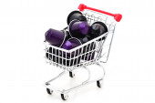 Shopping Cart with Coffee Casettes — Stok fotoğraf