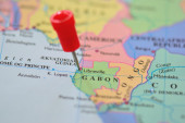 Map with push pin in Gabon — Stock Photo