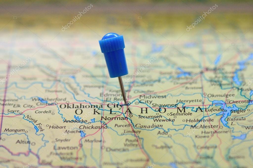 地图图钉在俄克拉荷马州