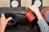Hands lubrication Valve — Stock Photo