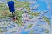 Map with pin in - of Athen, Greece — Foto de Stock