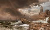 Storm with a Shipwreck - photomontage after Claude-Joseph Vernet painting — Stock Photo