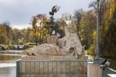 Birds and Sculpture, Autumn in Park, Warsaw, Poland — Stock Photo