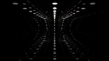 Tunnel, space, movement, lights, portal, labyrinth, night, future flight — Stock Video