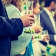 Drinkink champagne on the wedding ceremony — Stock Photo #55088499