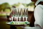 Wedding champagne party decorated glasses — Stockfoto