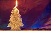 Christmas theme with new yea tree decorated candle — Stockfoto