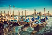 Gondolas at the  Piazza San Marco, Venice — Stockfoto