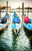 Gondolas at the  Piazza San Marco, Venice — Foto de Stock