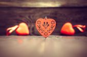 Decoration with red hearts on the wooden background — Fotografia Stock