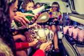 Hen-party with champagne — Stock Photo