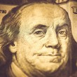 Part of 100 dollars, macro shot, Benjamin Franklin — Stock Photo #69742485