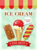 Vintage ice cream poster — Stock Vector