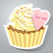 Sweet sticker with cupcake — Stock Vector