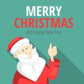 Cheerful Santa Claus shows thumb up — Stock Vector