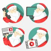 Set of cheerful Santa Clauses — Stock Vector