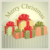 Christmas illustration with a group of wrapped boxes with ribbons and bows — Vettoriale Stock