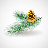Vector illustration with a gold cone on a green pine branch — Stock Vector