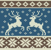 Cute knitting background with two reindeers and snowflakes — Stockvektor
