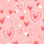 Vector seamless pattern for Valentine's Day with hearts on light background — Vector de stock