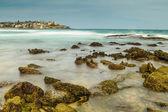 Bondi beach with rocks — Stock Photo