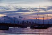 Sunset on watson bay marina — Stock Photo