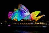 Sydney Opera House during vivid festival — Stock Photo