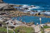 Swimming at the rock pool in Maroubra beach — Stock Photo