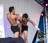Muai thai exhibition at the  Thailand  festival — Stock Photo