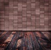 Velho piso de madeira e parede de tijolo — Fotografia Stock