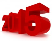 3D 2015 year. Glossy red figures on white background in perspect — Stock Photo