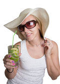 Beautiful girl on holiday with a cocktail — Stock Photo