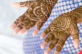 Image detail of henna being applied to hand. — Stock Photo