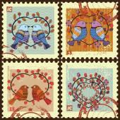 Postage stamps . — Stok Vektör