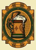 Beer mug label sign — Stock Vector