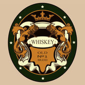 Whiskey vintage label sign — Stock Vector