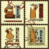 Beer history stamps , labels — Stockvektor