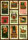 Postage stamps set for Patricks day — Vecteur