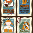 Set of postage stamps with zodiac sings — Stock Vector #68288271
