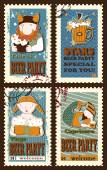 Set of postage stamps with zodiac sings — Vetor de Stock