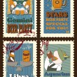 Set of postage stamps with zodiac sings — Stock Vector #68292057