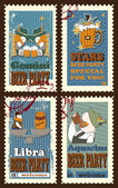 Set of postage stamps with zodiac sings — Stock Vector