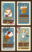 Set of postage stamps with zodiac sings — Wektor stockowy