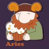 Aries funny zodiac sign — Vetor de Stock