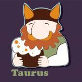 Taurus funny zodiac sign — Stock Vector