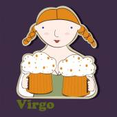 Virgo funny zodiac sign — Stock Vector
