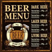 Beer menu design — Stock Vector