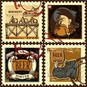 Set of postage stamps for beer theme. — Stock Vector