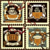 Set of postage stamps with beer labels. — Stock Vector