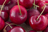 Heart shaped cherry isolated on background — Stock Photo